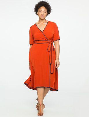 Fashion Bug Plus Size True Wrap Dress With Piping Detail Fashionbug