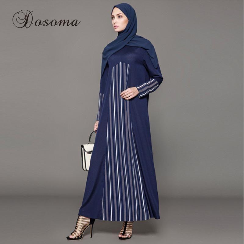 90e6a67545295 Muslim Dress Abaya Chiffon Striped Kimono Jilbab Long Robe Gown ...