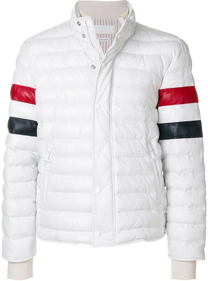 42a602f667 Thom Browne Downfilled Leather Ski Jacket W/ Front Guard & RWB Sleeves In  Deerskin