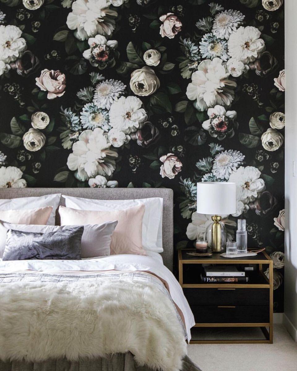 Dark Floral Vinyl Wallcovering Floral Wallpaper Bedroom In 2020 Wallpaper Bedroom Feature Wall Floral Wallpaper Bedroom Floral Bedroom
