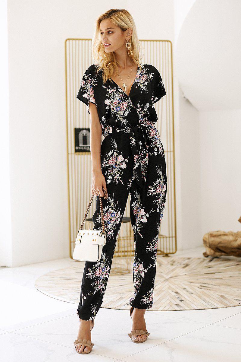 Vintage Floral Print Boho Long Jumpsuit #casualjumpsuit