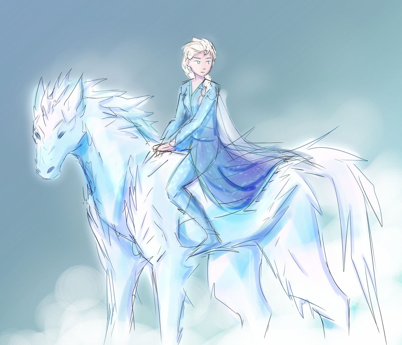 Xyxyz1112 If Elsa Used Her Powers On The Nokk Could She Have A Badass Ice Horse To Ride Into Battle Frozen Art Disney Horses Disney Frozen Elsa