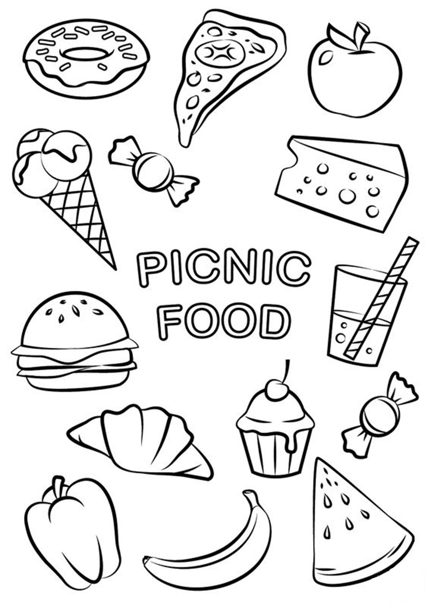 Free Easy To Print Food Coloring Pages In 2020 Food Coloring Pages Fruit Coloring Pages Free Printable Coloring Pages
