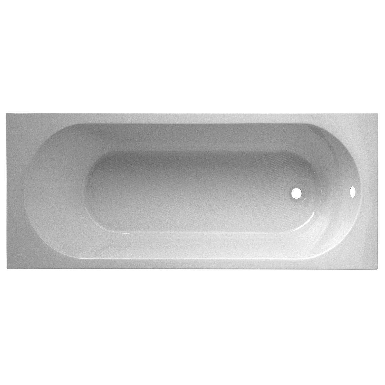Baignoire Rectangulaire L 160x L 70 Cm Blanc Nerea Baignoire