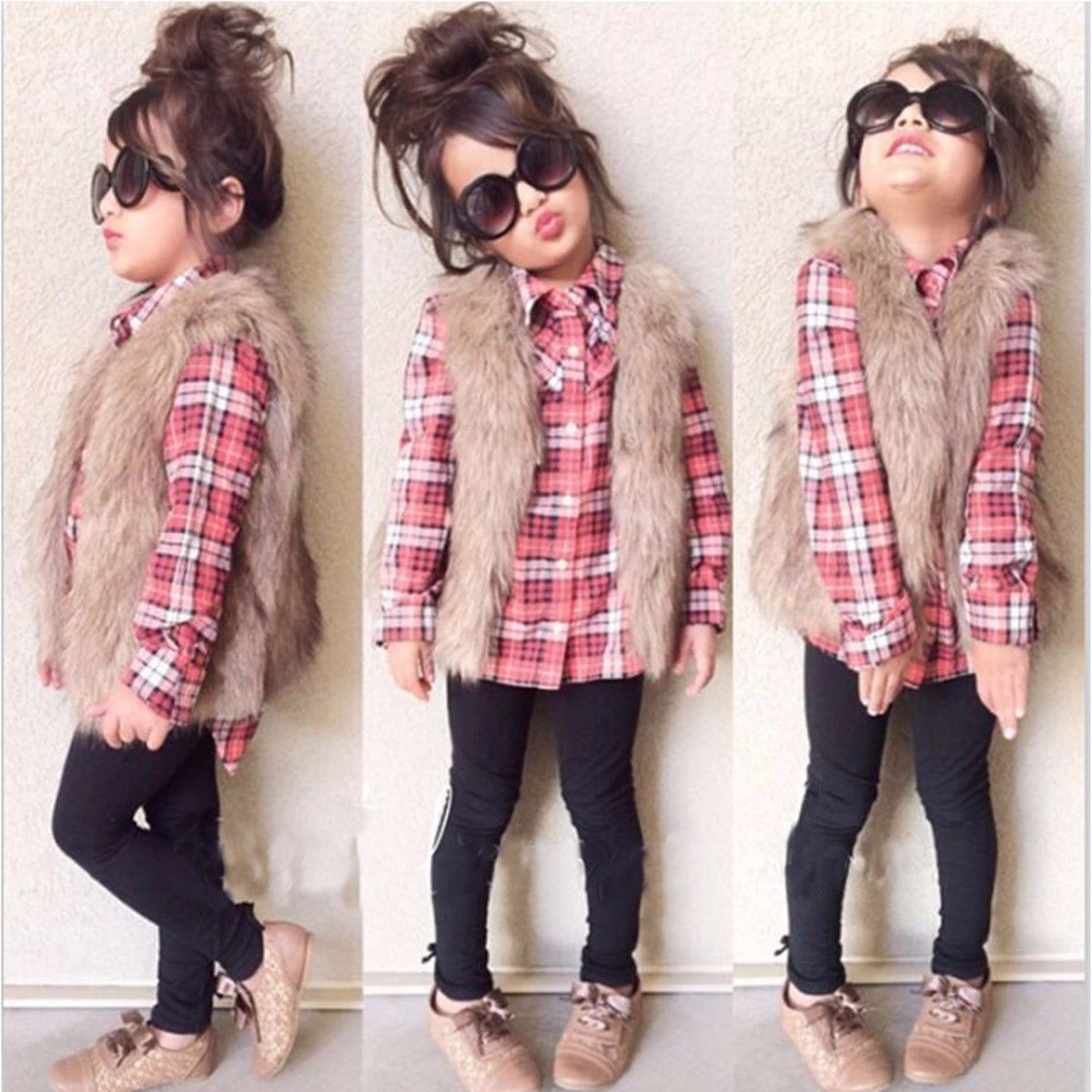 Flannel shirt for girls  Toddler Kids Baby Girls Outfits Clothes Long Sleeve Plaid Shirt