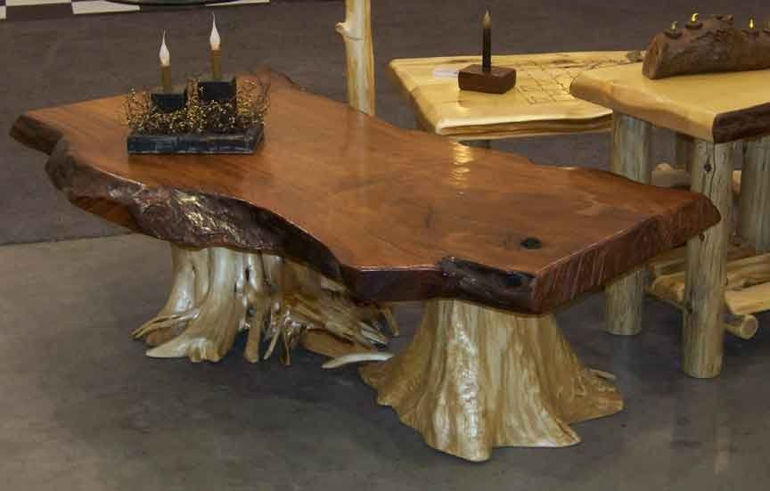 Cedar log furniture plans rustic redwood coffee table