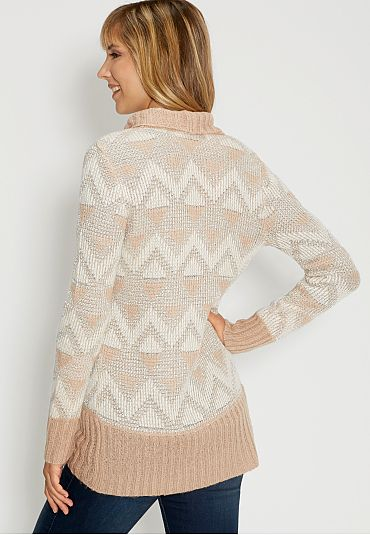 ethnic patterned cardigan with metallic stitching - maurices.com