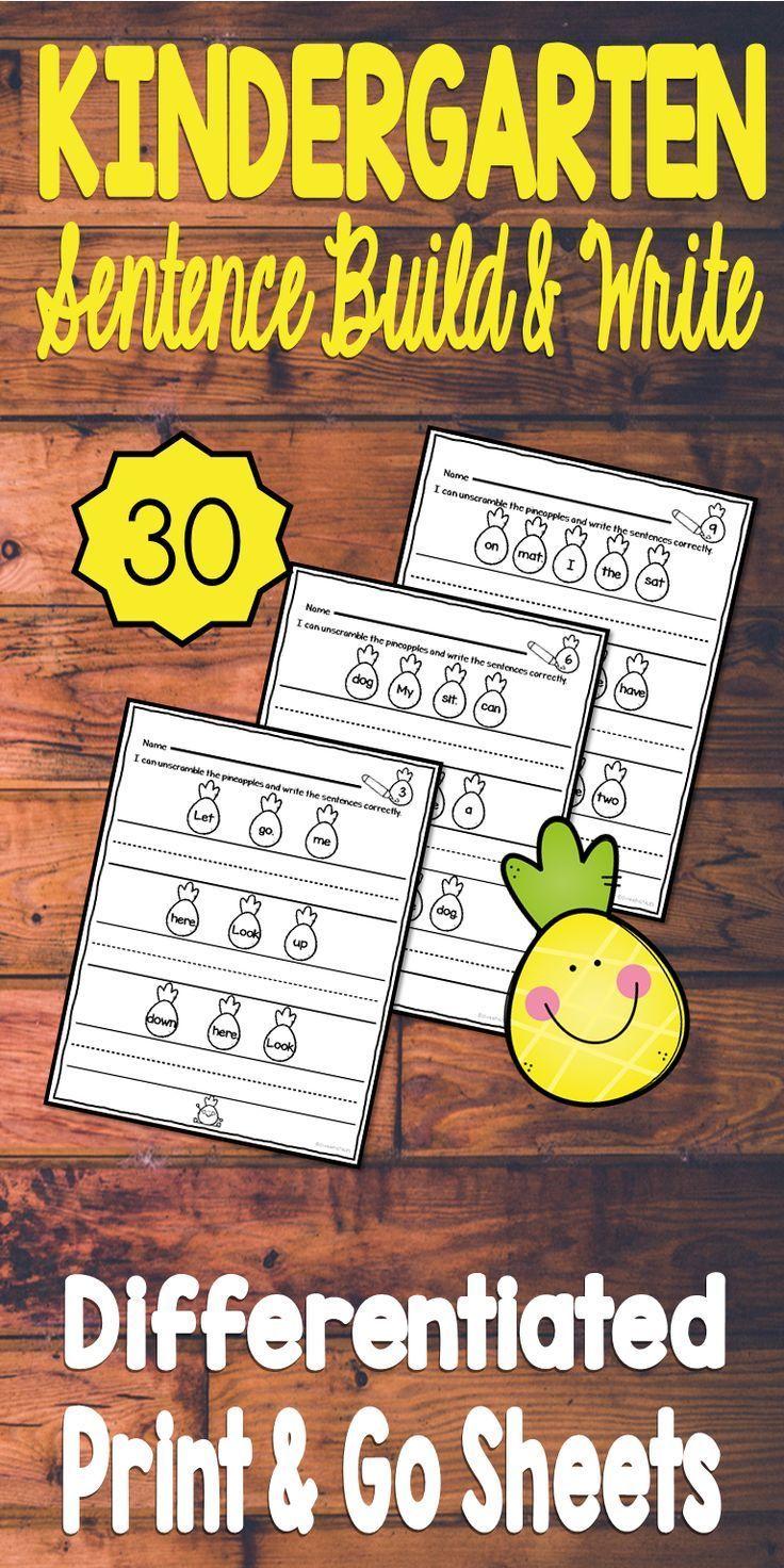 Kindergarten Sentence Building No Prep Set