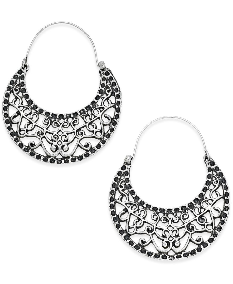 Silver-Tone Filigree Half-Hoop Earrings