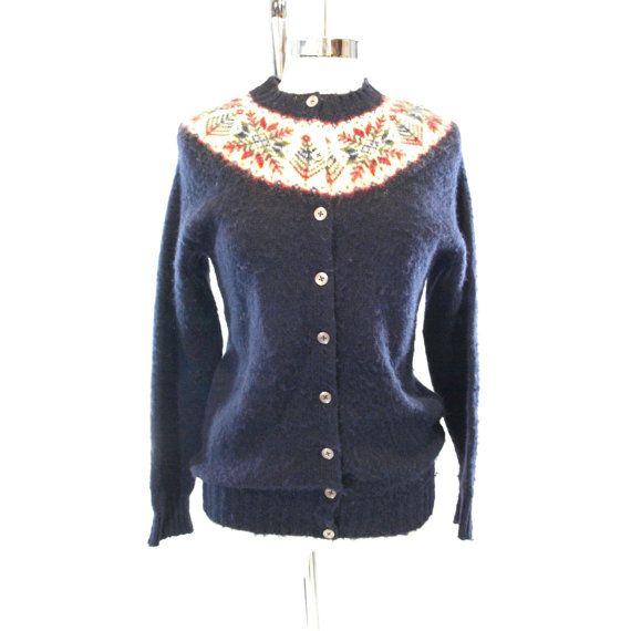 Style:Cardigan sweater Material: 100% shetland wool Era: 1960s ...