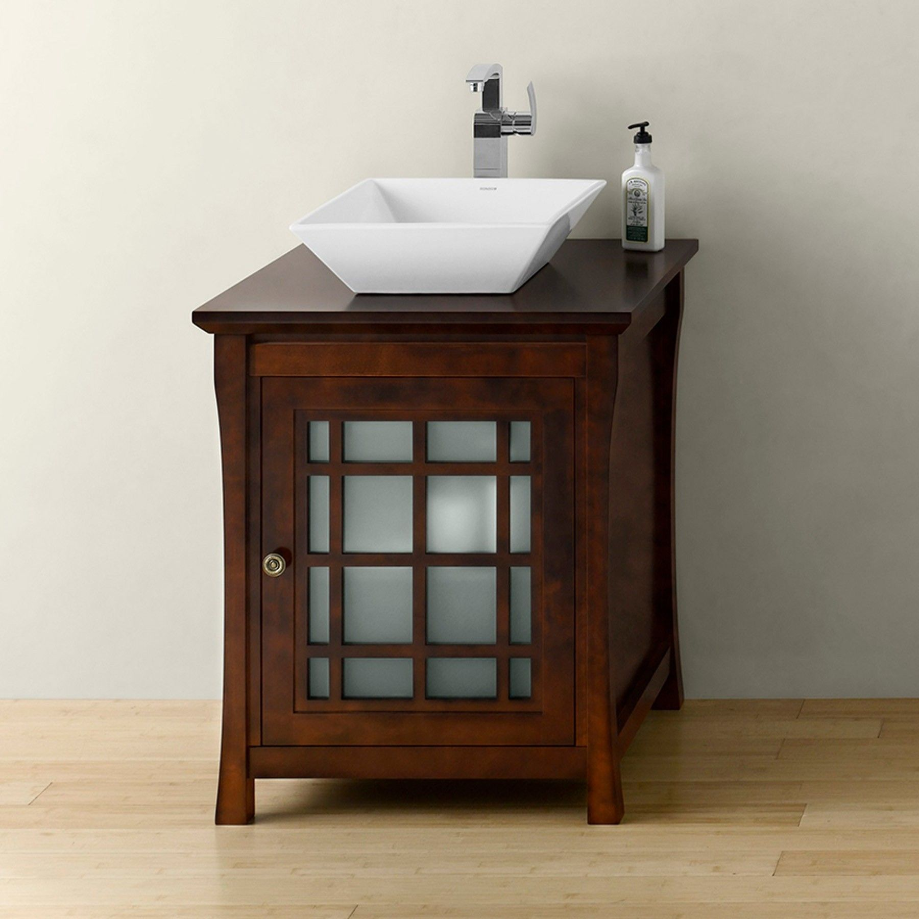 25 Sachi Single Bathroom Vanity Base Cabinet Only With Frosted