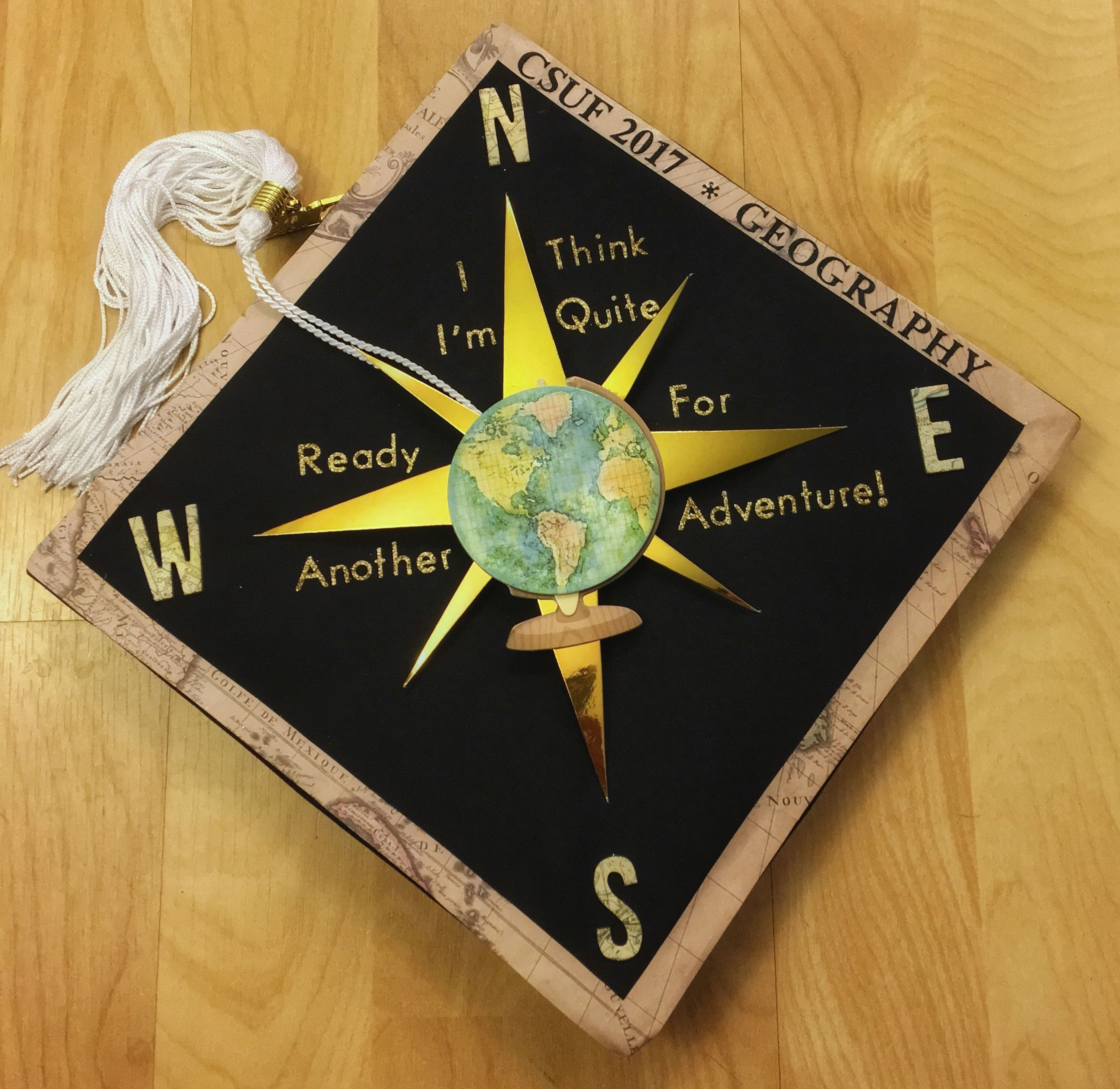 Decorated Grad Cap With A Compass Rose And Movie Bilbo S Quote From Lord Of The Rings Grad Graduation Cap Designs Grad Cap Graduation Cap Decoration