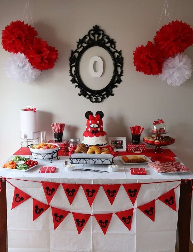 Minnie Mouse Birthday Party Ideas White desserts Dessert table