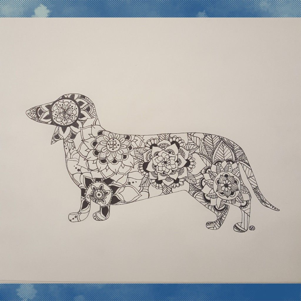Dachshund Mandala Silhouette Coloring Pages Embroidery Patterns