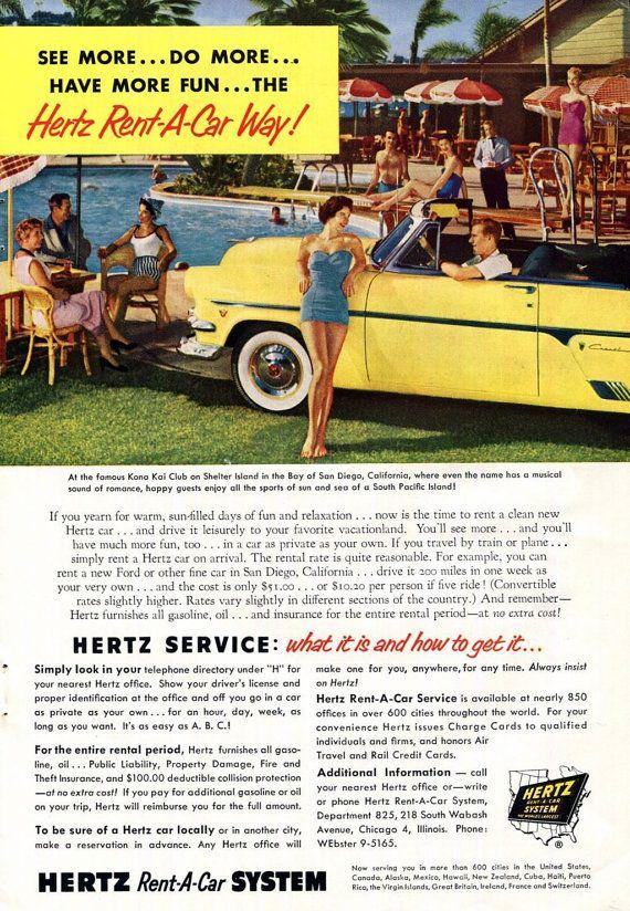 Kona Kai Club Shelter Island San Diego 1950s Hertz Ad ...1950s Cars For Rent