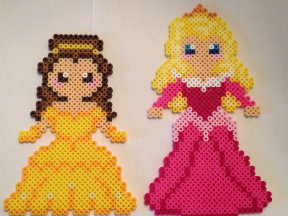 Perler Bead Disney Princesses Belle and Aurora by