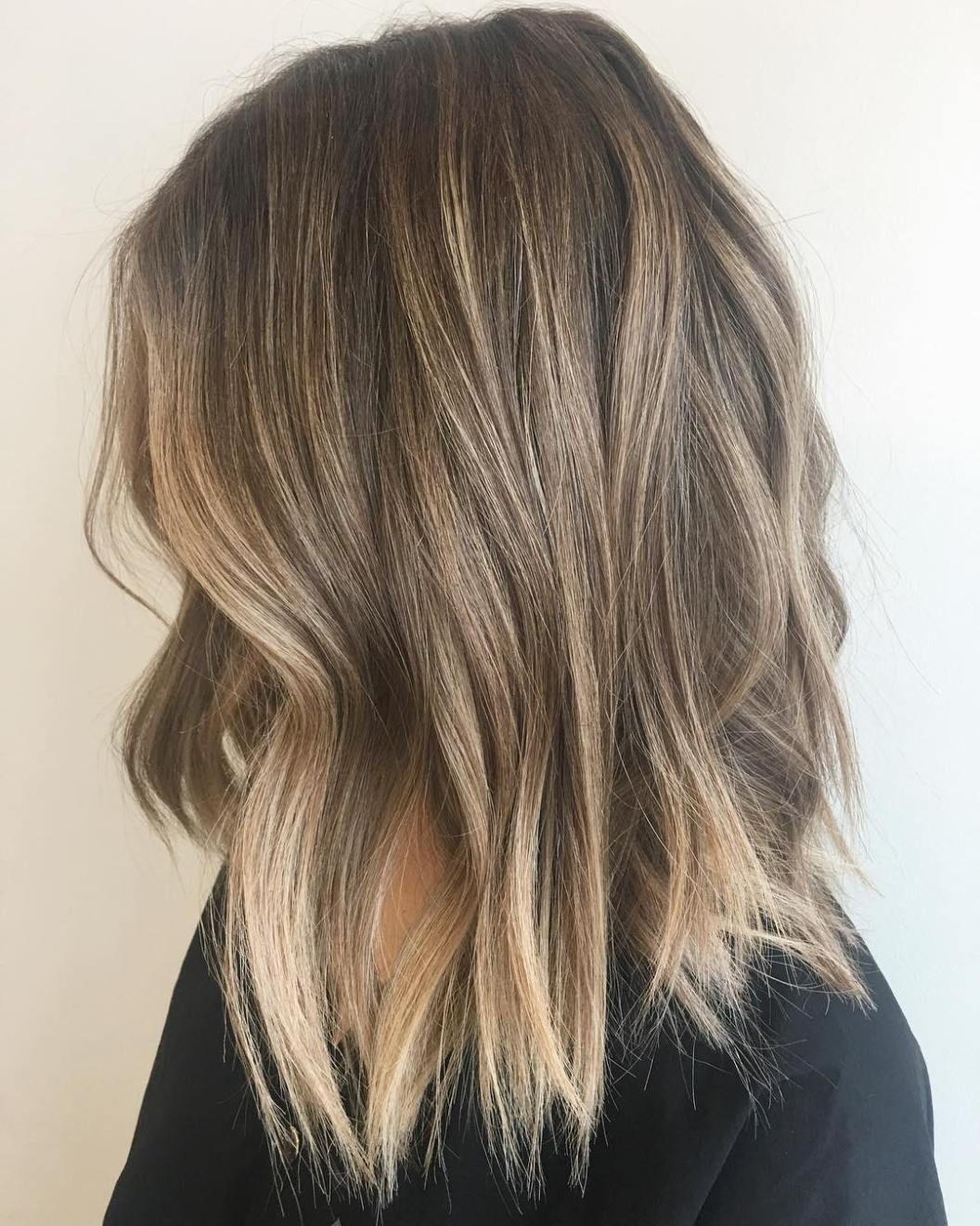 Choppy Dark Blonde Lob Hair Styles Medium Hair Styles Balayage Hair