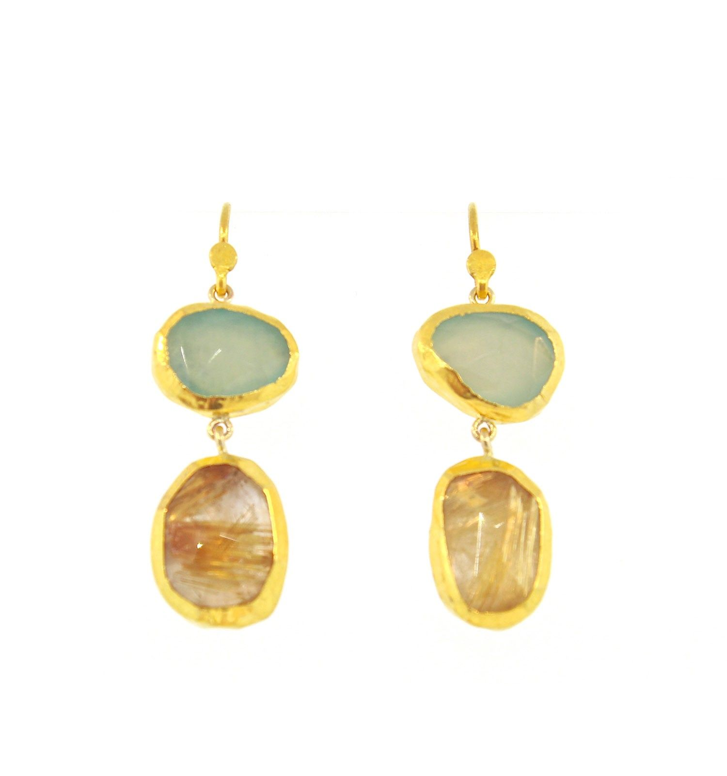 Nava Zahavi Chalcedony Rutilated Quartz Earrings 24K Gold