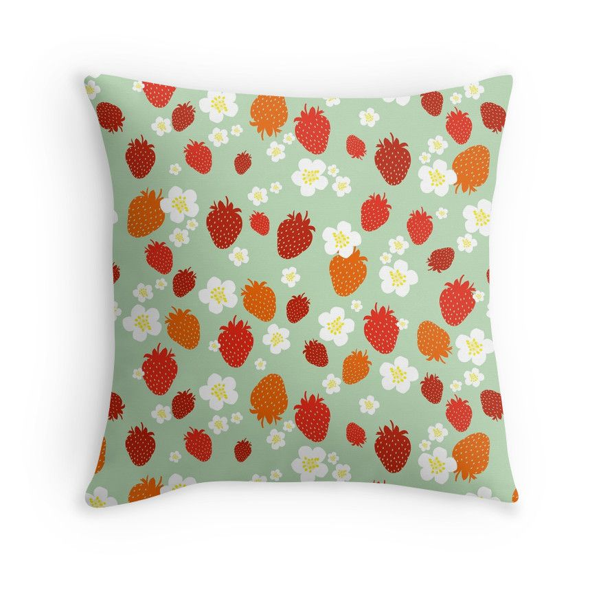 Strawberry Blossom Throw Pillow By Cynthia Katz Flower Throw Pillows Throw Pillows Pillows