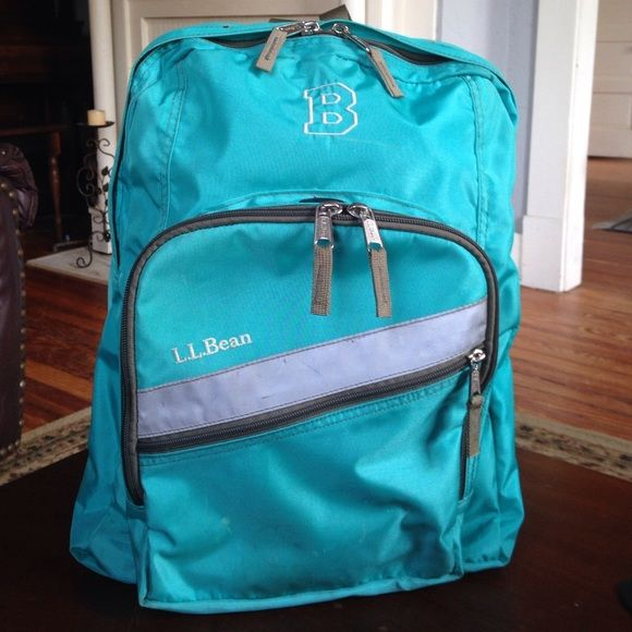 Four Zippered Compartments For Plenty Of Organized Storage Space Silver Varsity Block Monogram B In Great Condition LL Bean Bags Backpacks