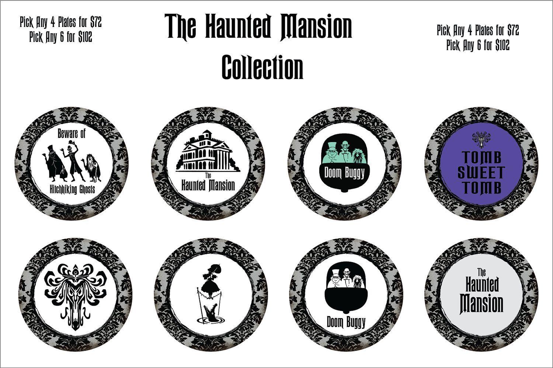 Haunted Mansion 4 - 8 Inch Dessert Plate Set. $72.00, via Etsy.