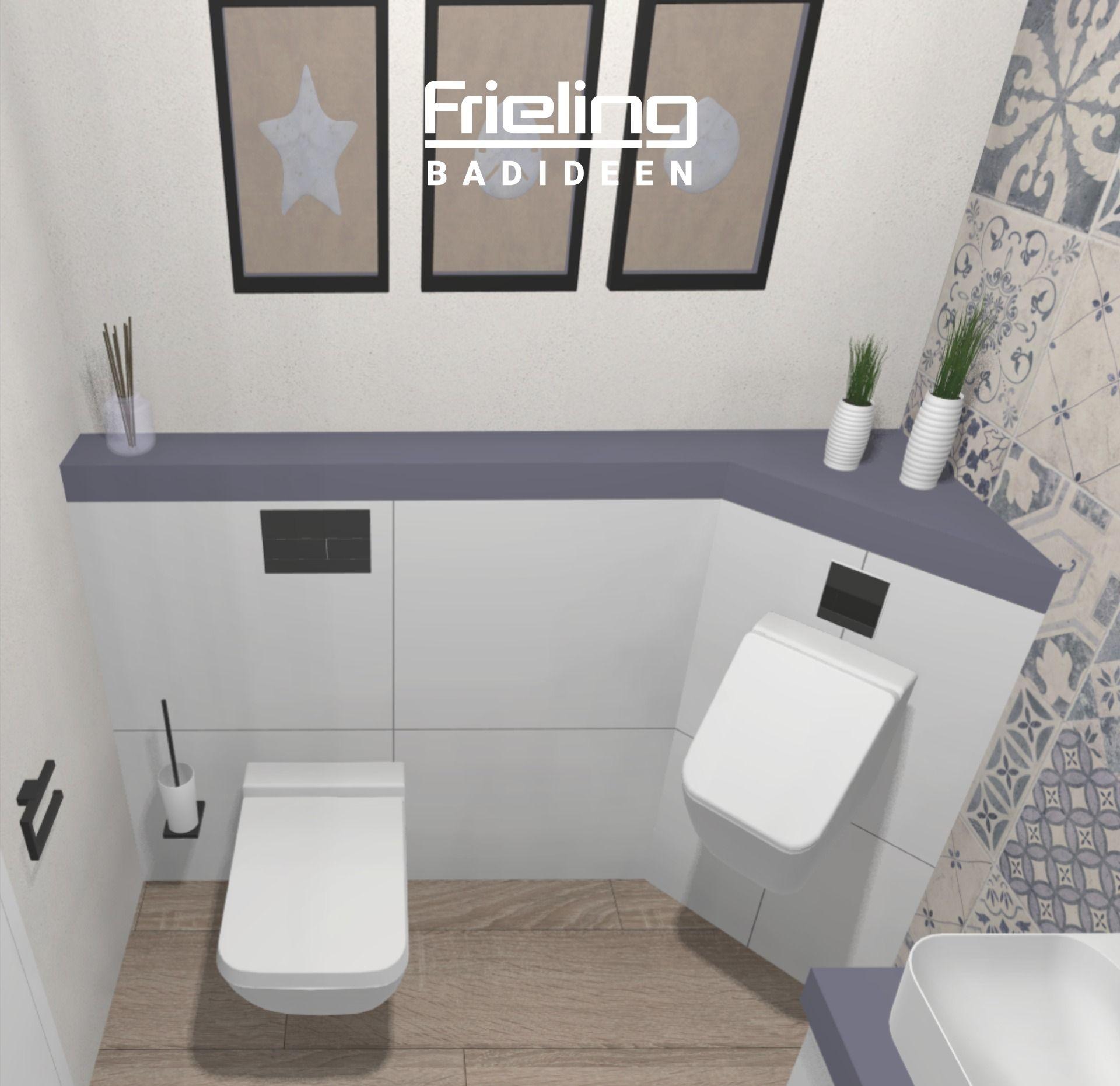 Gastebad Mit Stauraum Urinal Auf 3qm Helles Modernes Gaste Wc Im Landhausstil Mit Musterfliesen In 2020 Urinale Gastebad Gaste Wc