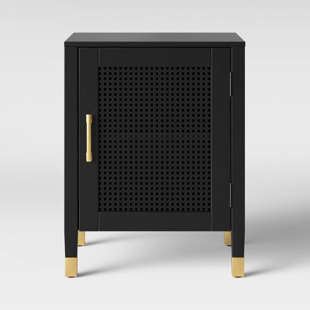Duxbury Nightstand With Storage Black Threshold In 2020 Metal