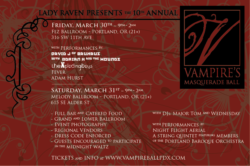 I would love to attend this dark ball of debauchery.... except dress in all white and gold!