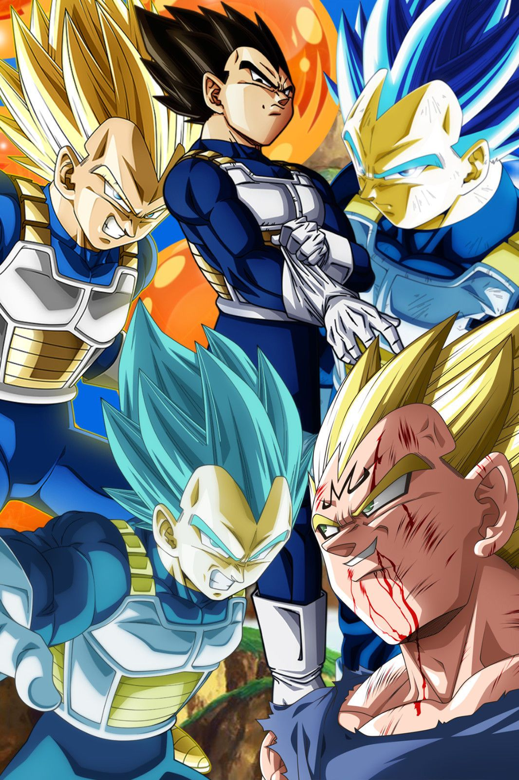 Dragon Ball Z Super Poster Vegeta Five Different Forms 12inx18in Free Shipping Anime Dragon Ball Super Anime Dragon Ball Goku Dragon Ball Super Manga