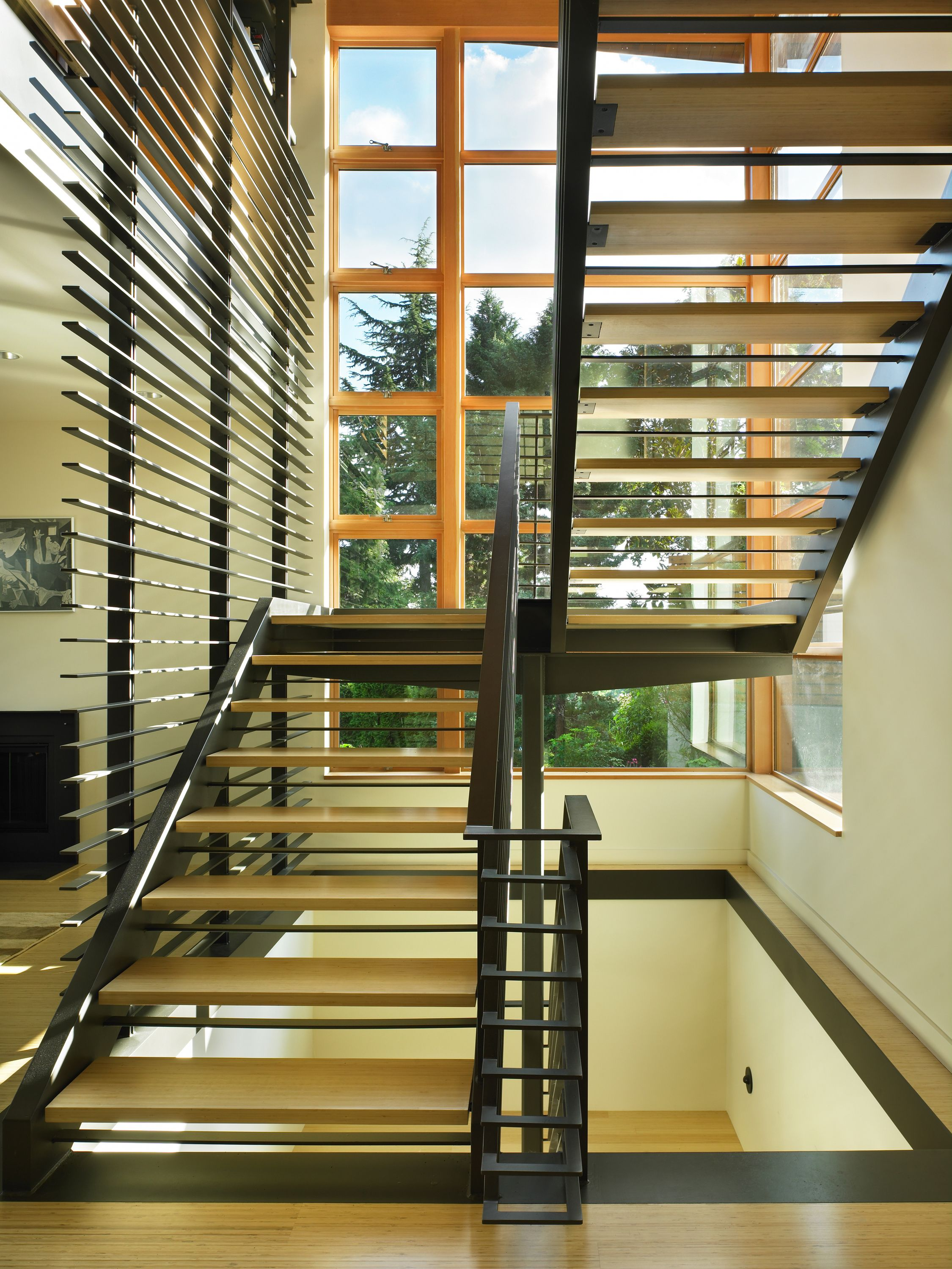 The Open Steel Stair W Bamboo Treads Floats In The   Open Tread Staircase Designs
