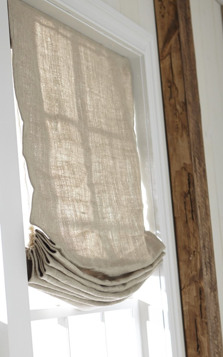 Inside Mounted Linen Relaxed Roman Shade Bathroom Window Treatments Kitchen Window Treatments Living Room Blinds