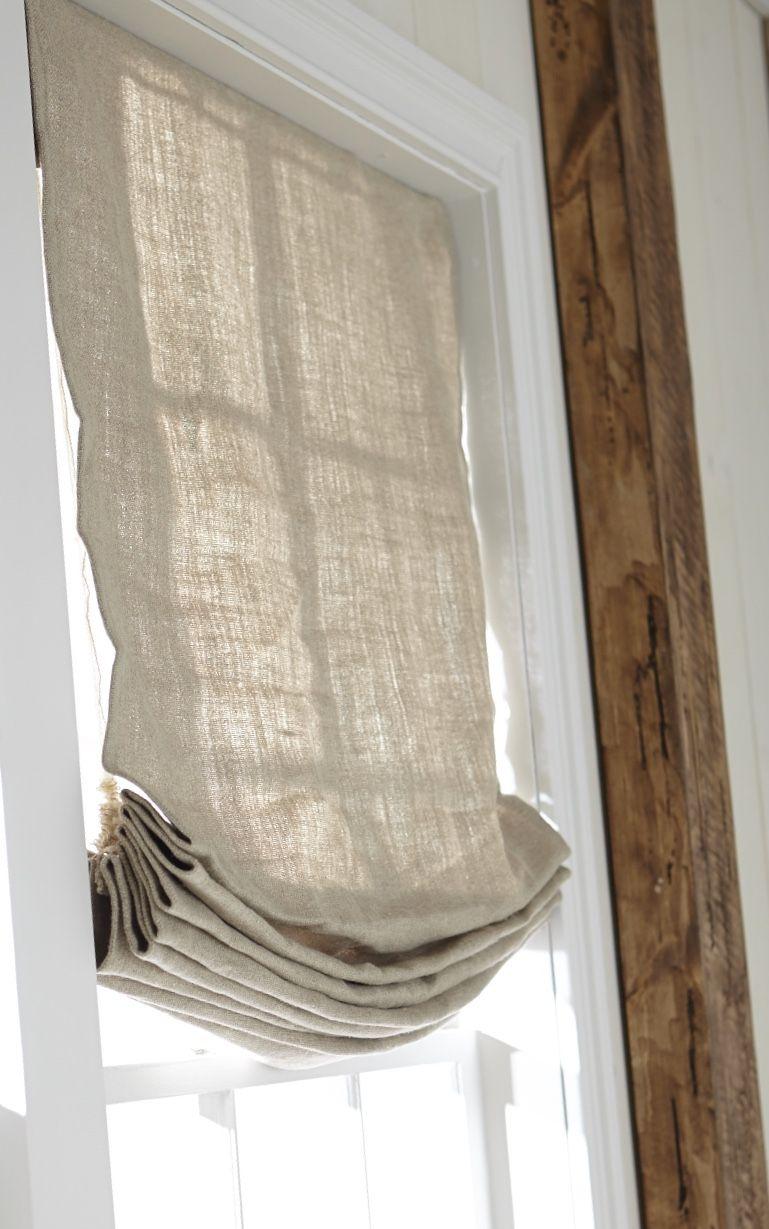 Inside Mounted Linen Relaxed Roman Shade