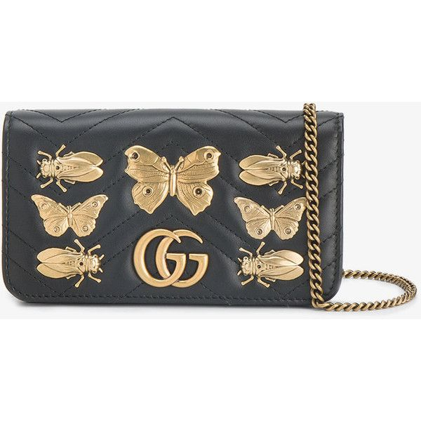 2dd2a3bc Gucci GG Marmont bug embellished chain wallet bag ($1,055) ❤ liked ...