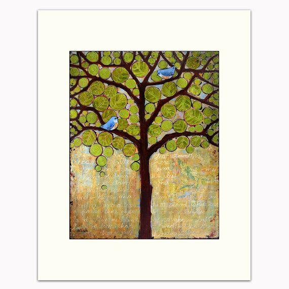 Nursery Art Print, Matted Art, Wall Decor, Tree Print, Blue Bird ...