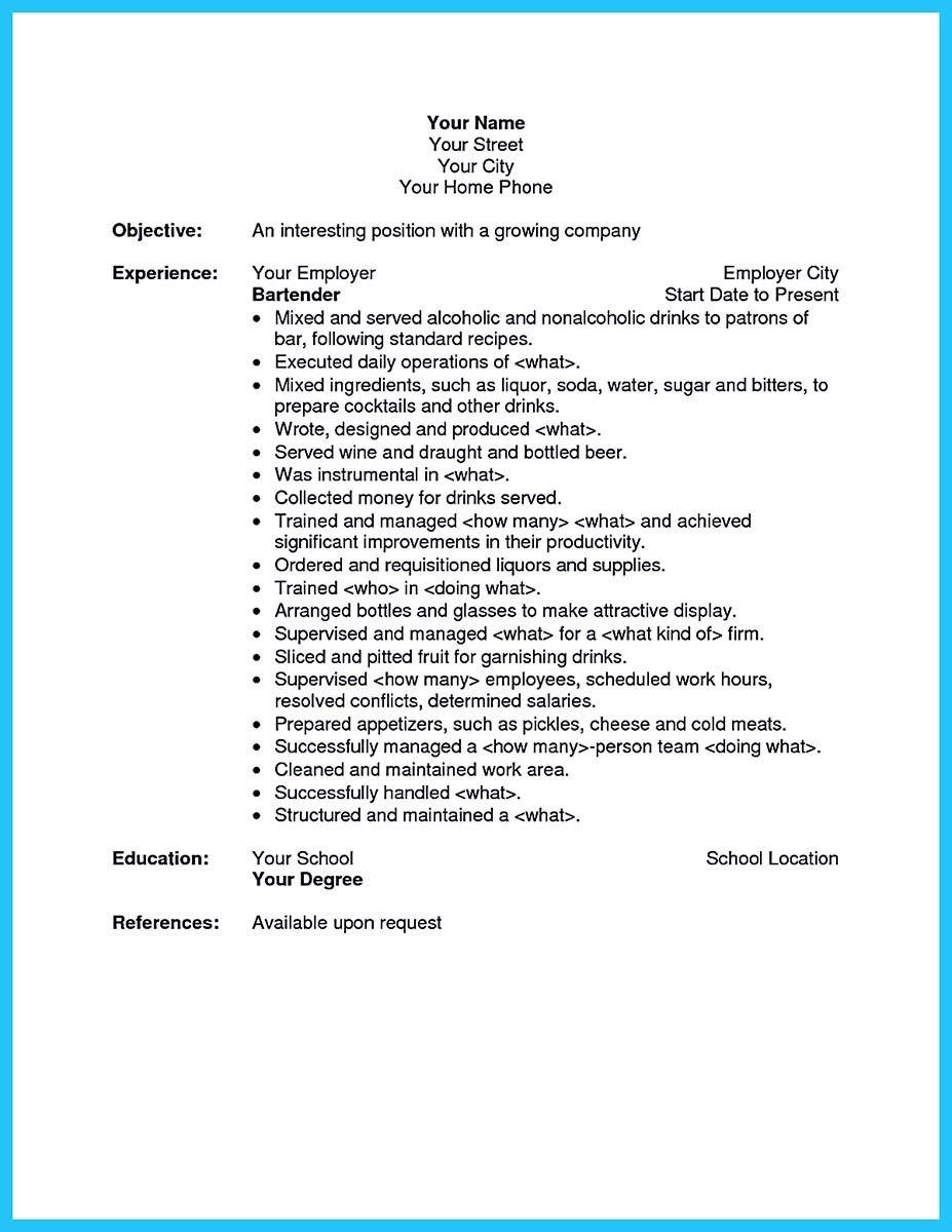 Bartender Resume | Job stuff | Pinterest | Bartenders, Alcoholic ...