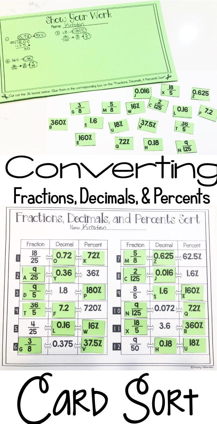 Fractions Decimals And Percents Card Sort 7th Grade Math