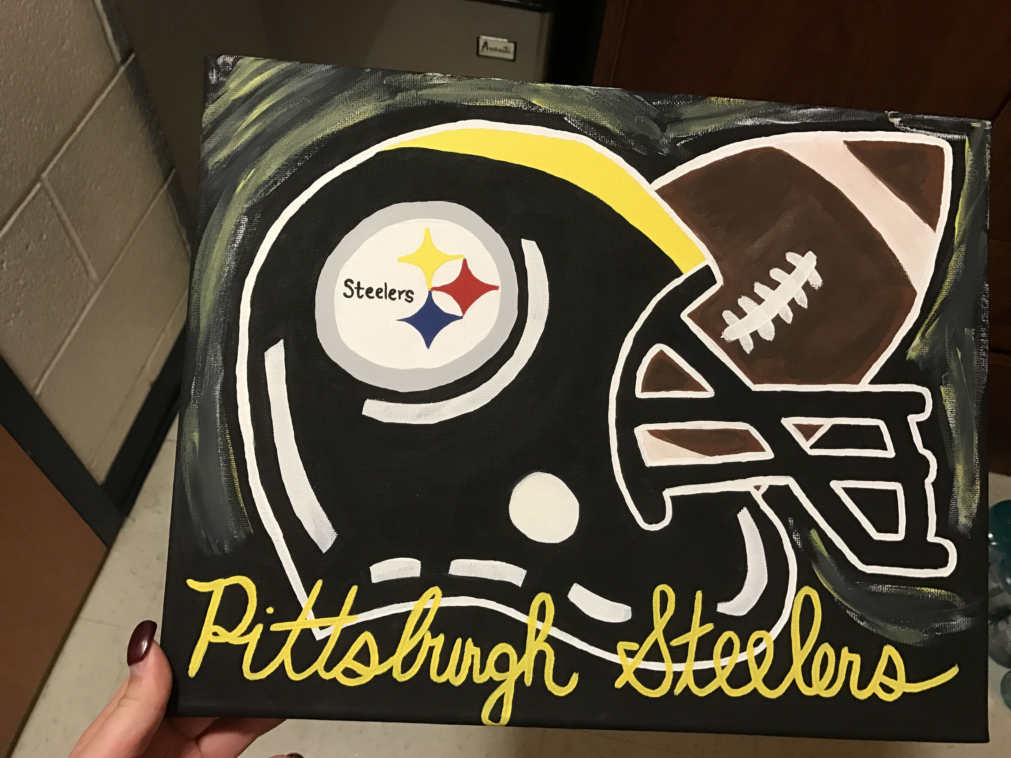 ac0b4d0d6 Pittsburgh Steelers football helmet canvas painting