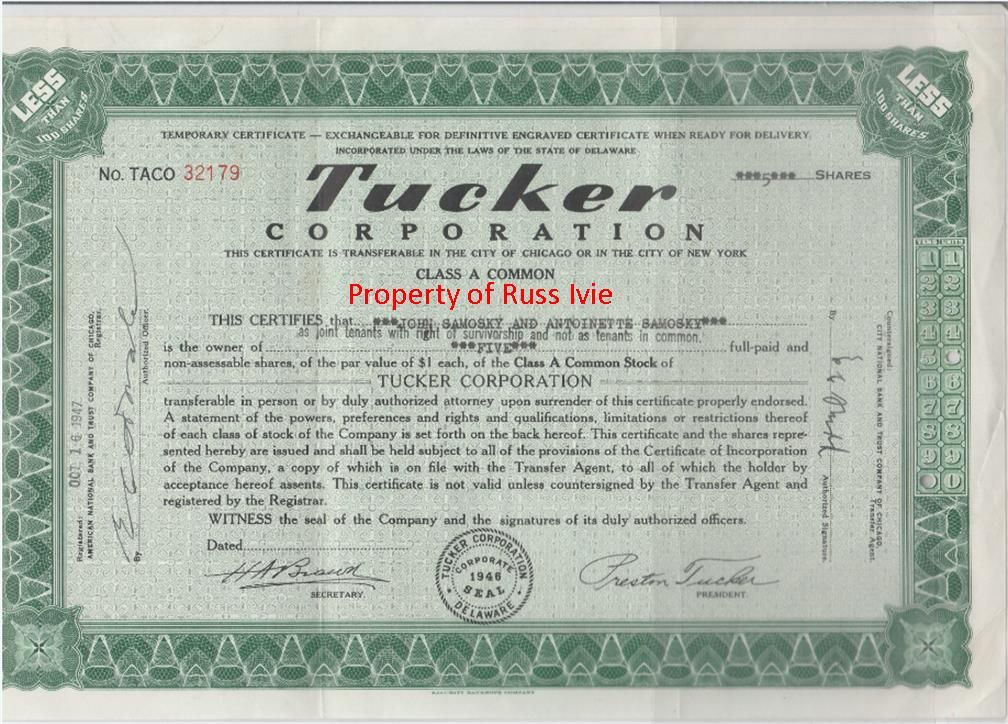 My Original Tucker Corporation Stock Certificate Low Shares But