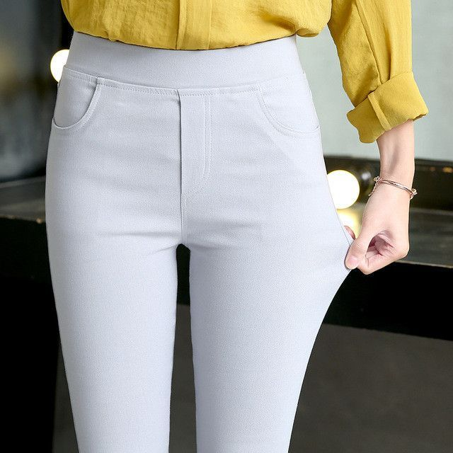 New Summer Autumn Plus Size 3XL Women's Clothing White Pencil Pants Ladies Cotton High Waist Elastic Trousers B65805