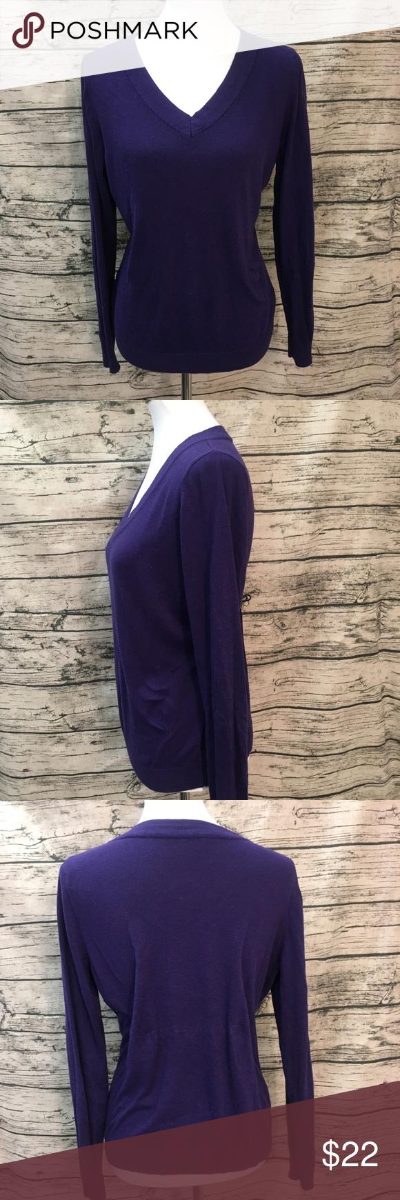 Worthington V Neck Soft Purple Sweater Sz L | Deep purple ...