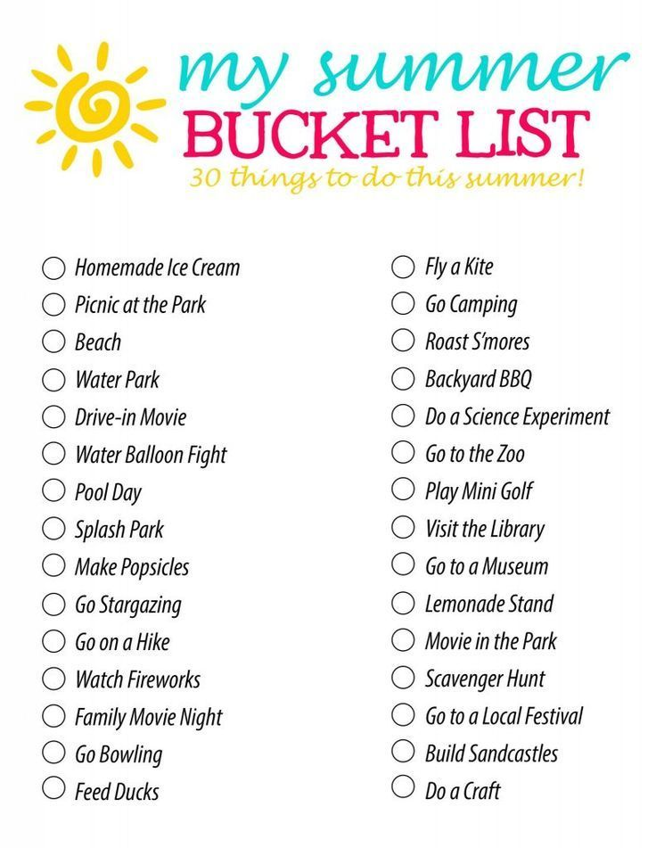 Summer Bucket List 30 Fun Summer Activity ideas for Families and kids  Summer fun list, Summer