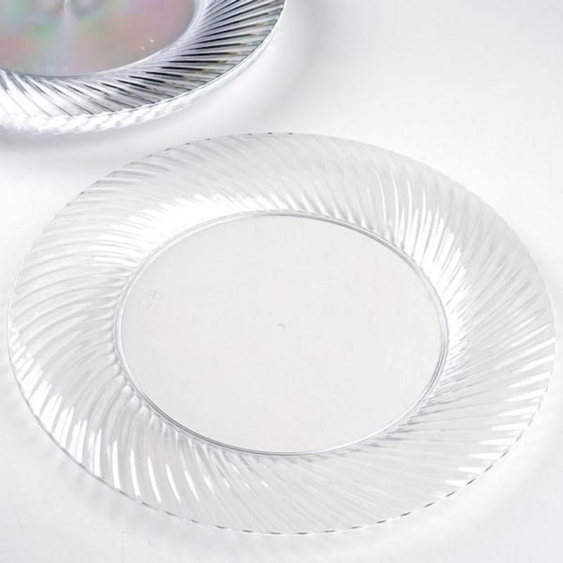 Set Of 10 10 Clear Round Disposable Plastic Dinner Plates With Twirl Rim In 2020 Disposable Tableware Clear Plastic Plates Disposable Plastic Plates