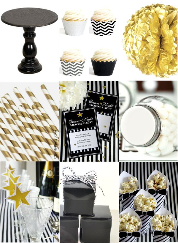 Black White Silver And Gold Oscars Inspired Party Supplies Printables