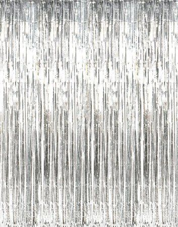 Metallic Silver Foil Fringe Curtains 1 Pc For Photo Booth