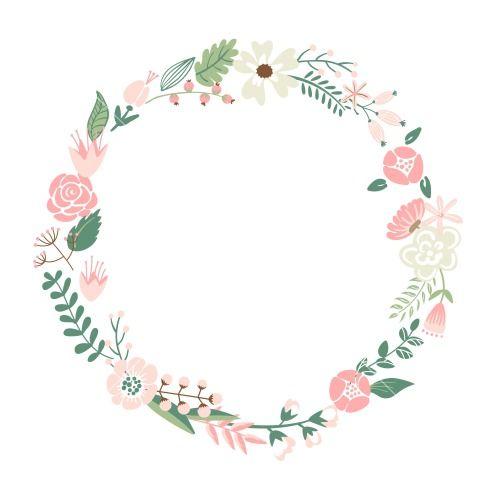 Floral Frame Cute Retro Flowers Arranged Un A Shape Of The Wreath Perfect For Wedding Invitations And Birt Kartu Bunga Kartu Undangan Pernikahan Bunga Cat Air