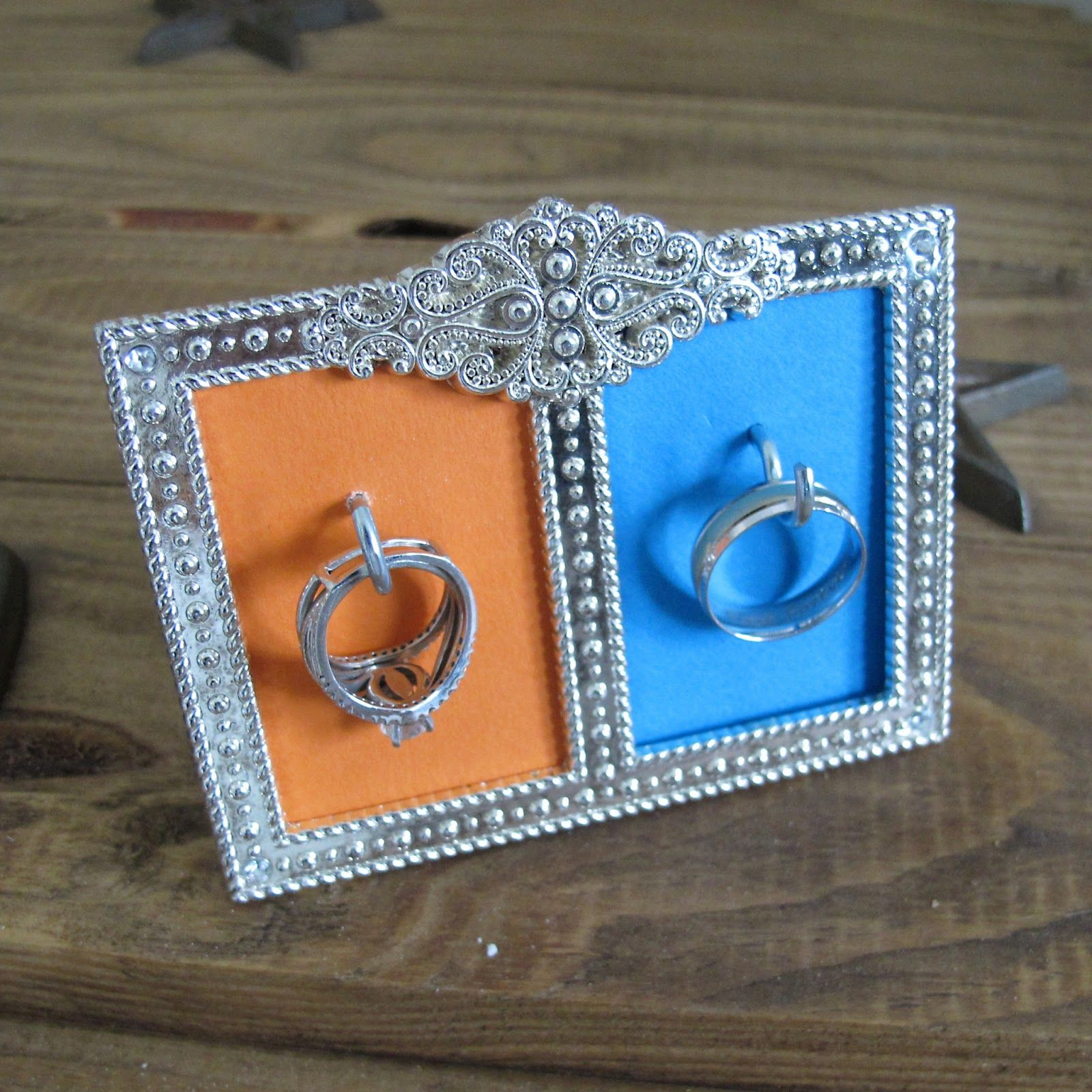 diy wedding ring holder use a small frame and some hooks to create your own - Wedding Ring Holder