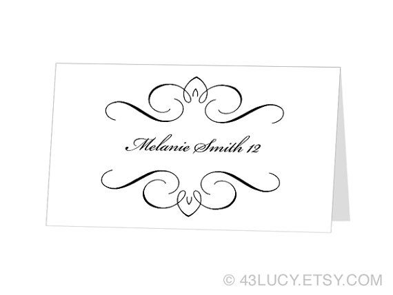 Instant Download Avery Place Card Template Flourish By 43lucy 9 95 Free Place Card Template Card Templates Printable Wedding Place Card Templates