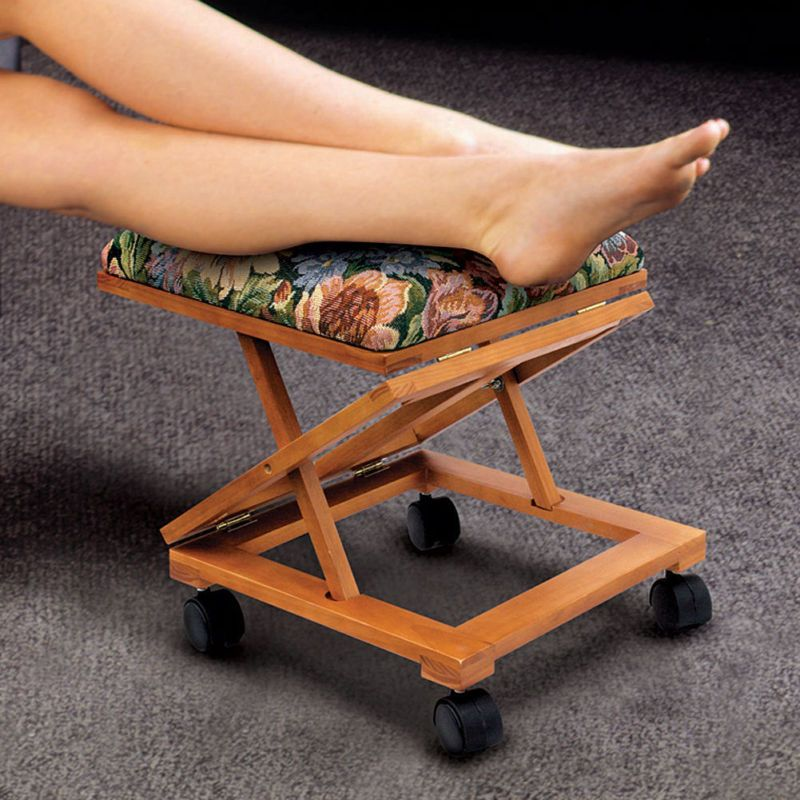 Footrest Fold A Way Tapestry Elevated Foot Stool Adjustable Foot Rest Rolling 84358043636 Ebay Footstool Foot Rest Ottoman Foot Rest
