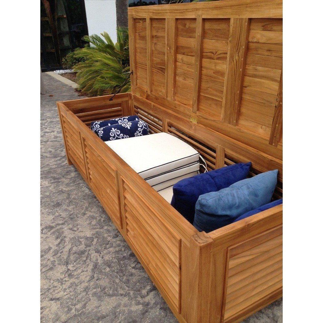 Photo of Teak Wood Manhattan Pool and Deck Storage Cushion Box
