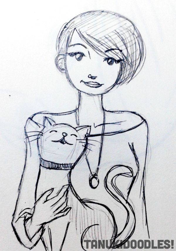 Female girl pixie short hair cartoon cat feline